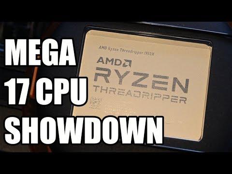 Huge 17 CPU Showdown - Ryzen, ThreadRipper, i3, i5, i7, i9 Benchmarks!