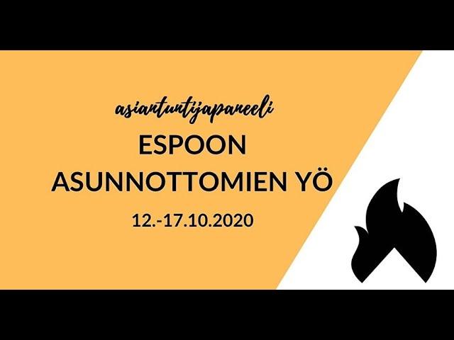 Espoon Asunnottomien yön asiantuntijapaneeli 14.10.2020, Laurea Ammattikorkeakoulu Otaniemi