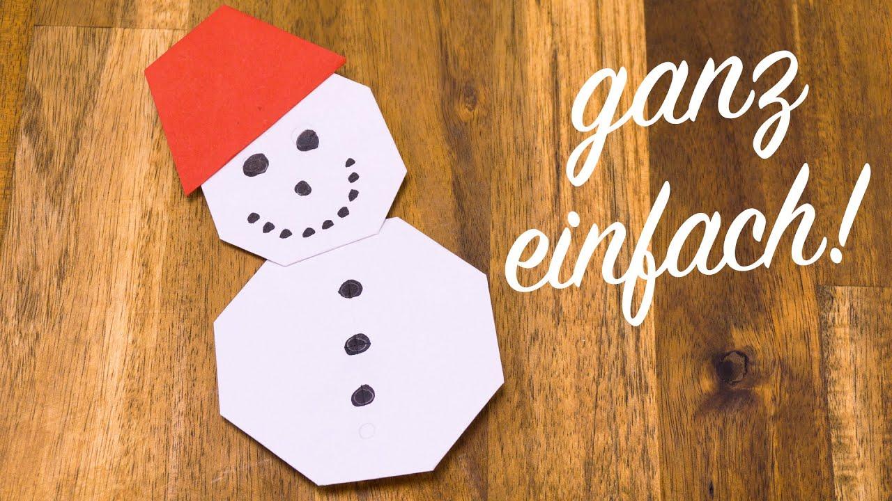 schneemann falten mit kindern basteln mit papier f r weihnachten youtube. Black Bedroom Furniture Sets. Home Design Ideas
