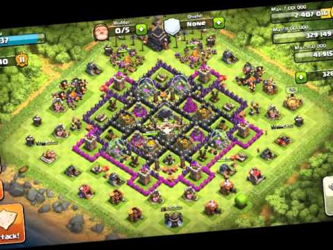 CLASH OF CLANS War Theme Song and Strong TH Town Hall 9 10 Base