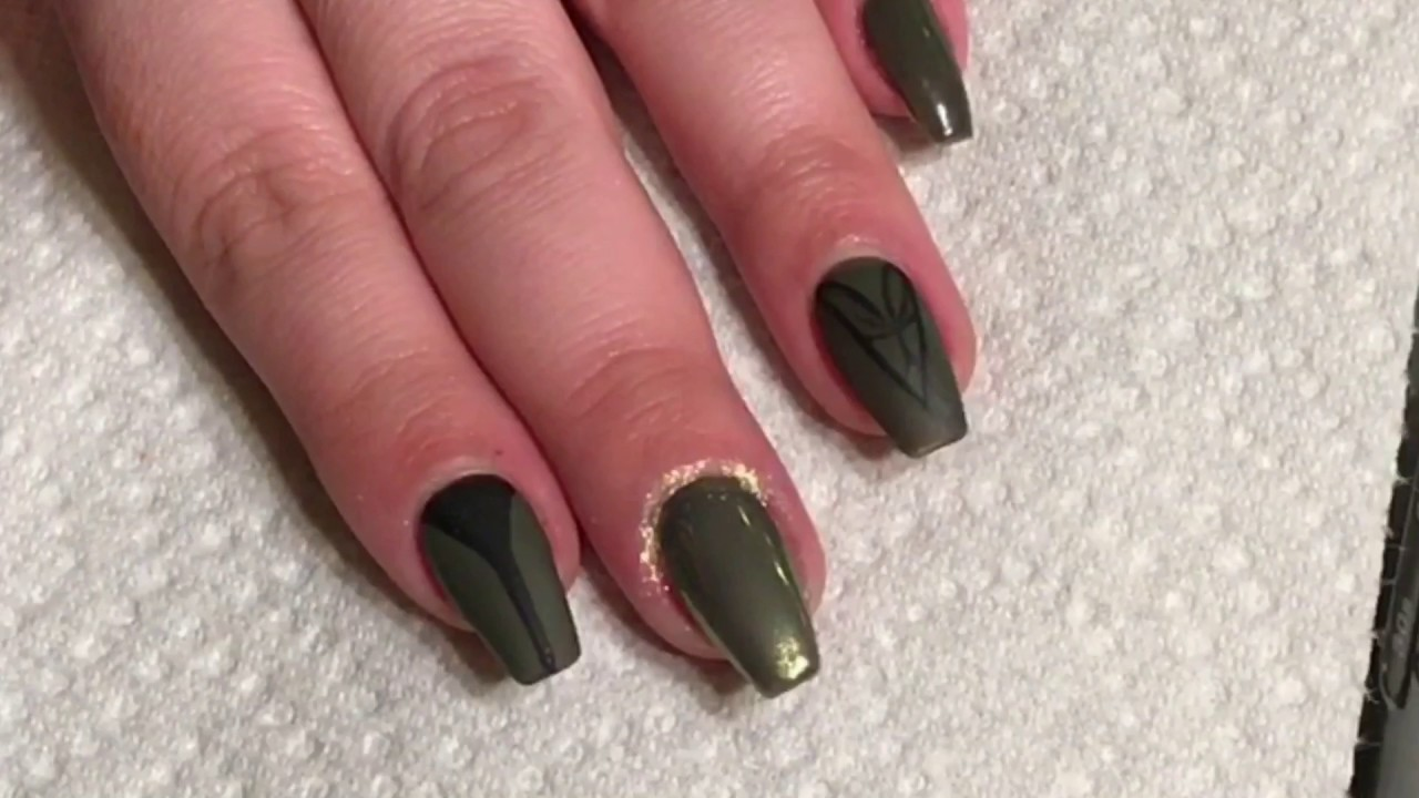 Army Green Coffin Nails Tutorial - YouTube