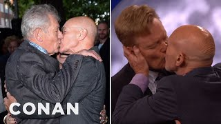 Sir Patrick Stewart Loves A Male Kiss  - CONAN on TBS