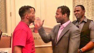 Shane Mosley vs. Ricardo Mayorga crazy staredown! Shane smacks Mayorga