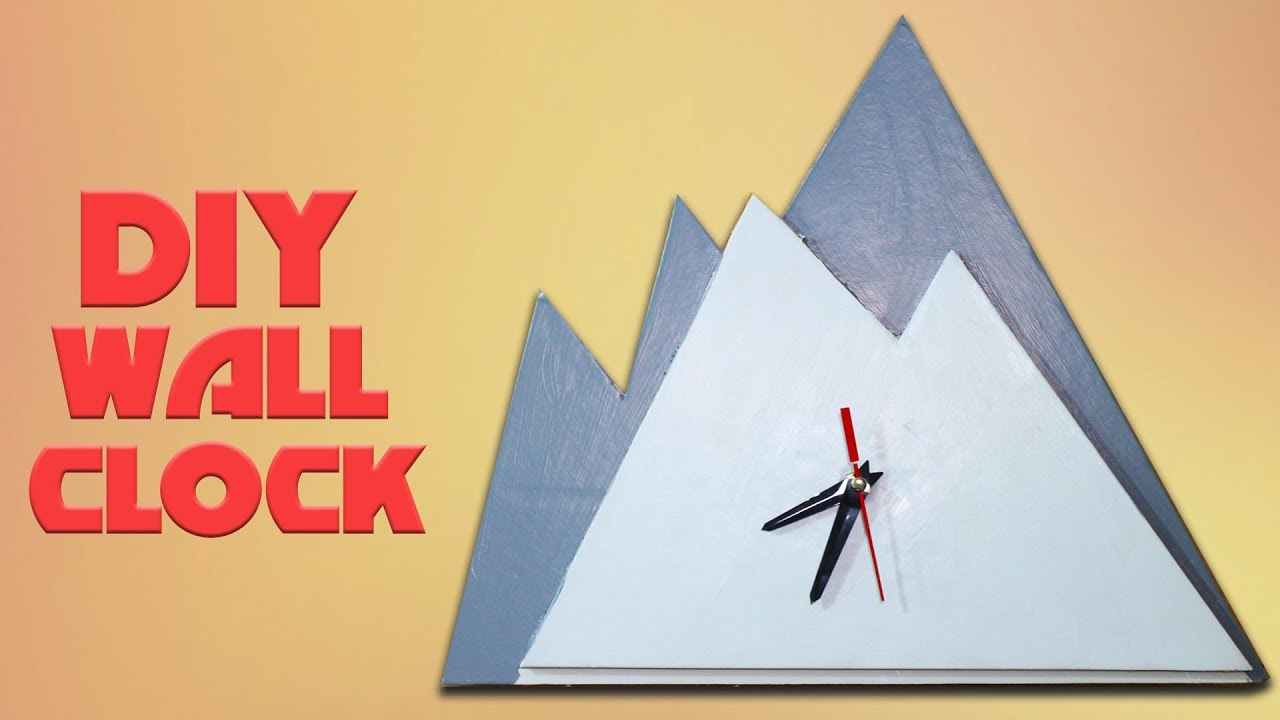 Diy wall clock in mountain shape | Cardboard Clock Craft for kids ...