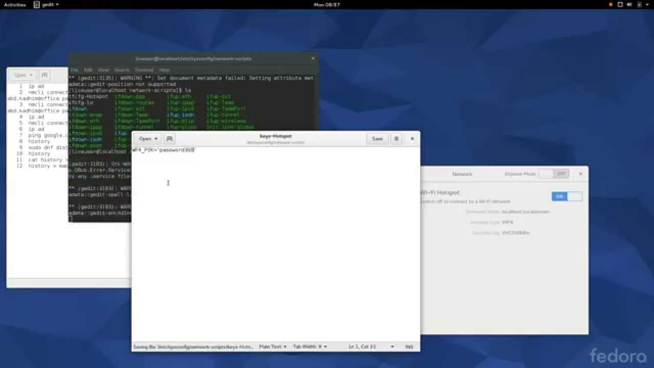 How to: Hotspot Fedora 22 Gnome 16 2