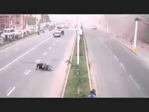 Nepal Earthquake   CCTV footage  at a road in nepal 25 April 2015