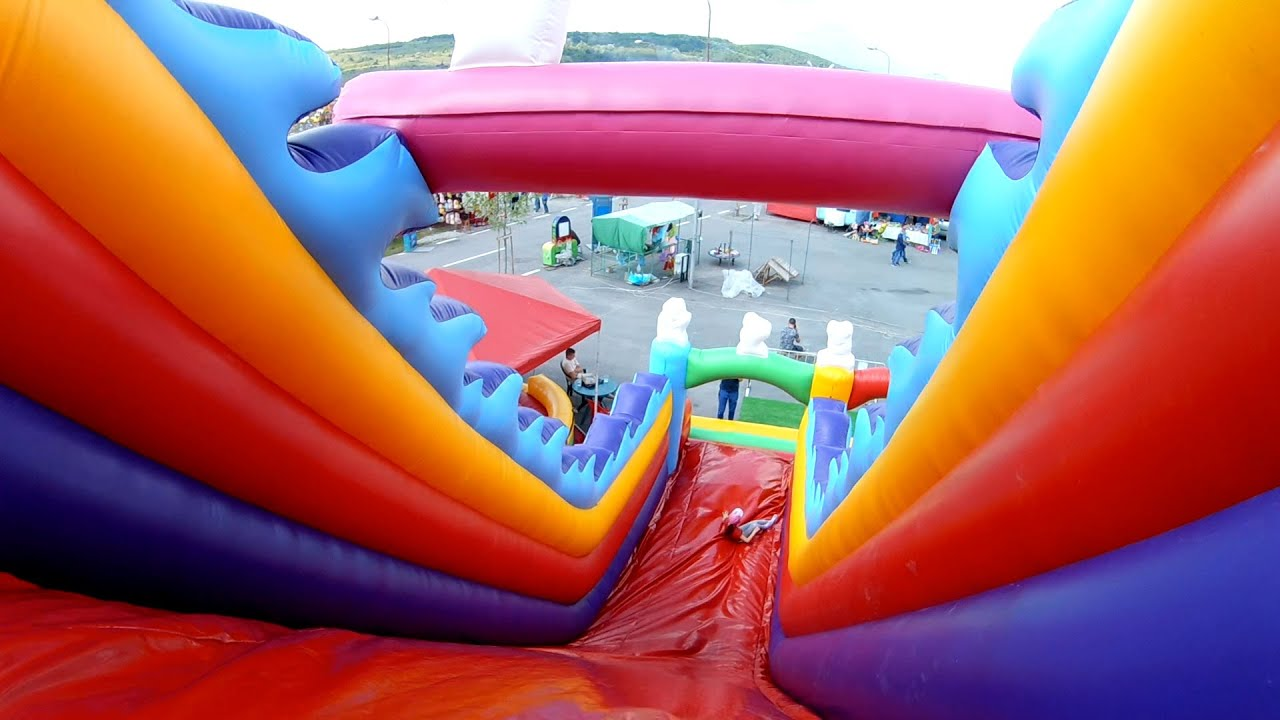 Outdoor playground fun for kids Huge bouncy castle and water