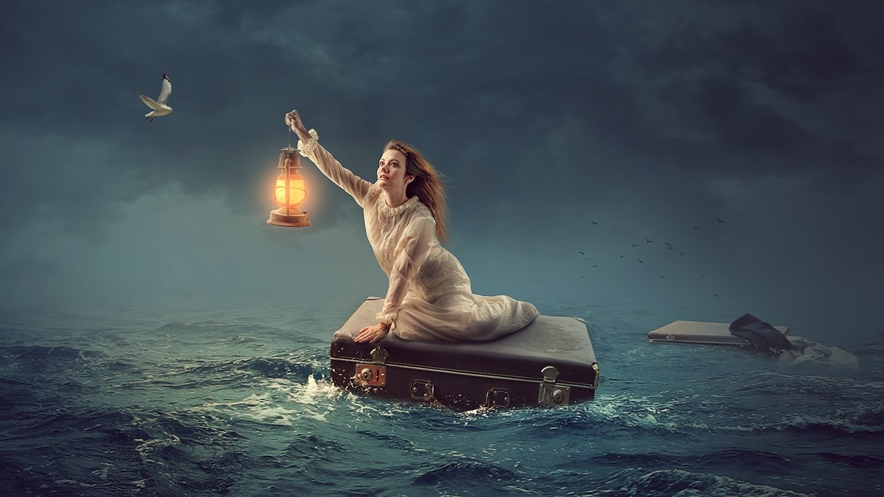 In The Sea  Photoshop manipulation Tutorial Light Effects