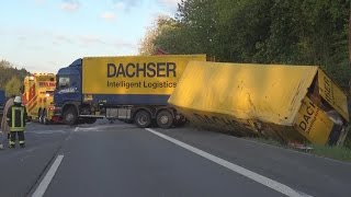 Gefahrgut-LKW umgekippt auf A4 Höhe Engelskirchen am 04.05.16 + O-Ton