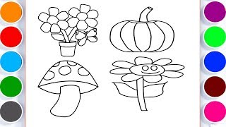 How to Draw Flower Vase And Mushroom Coloring Pages for Kids Learn Colors