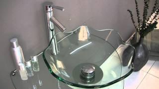 Fresca Netto Modern Glass Bathroom Vanity W/ Wavy Edge Vessel Sink - Fvn1036