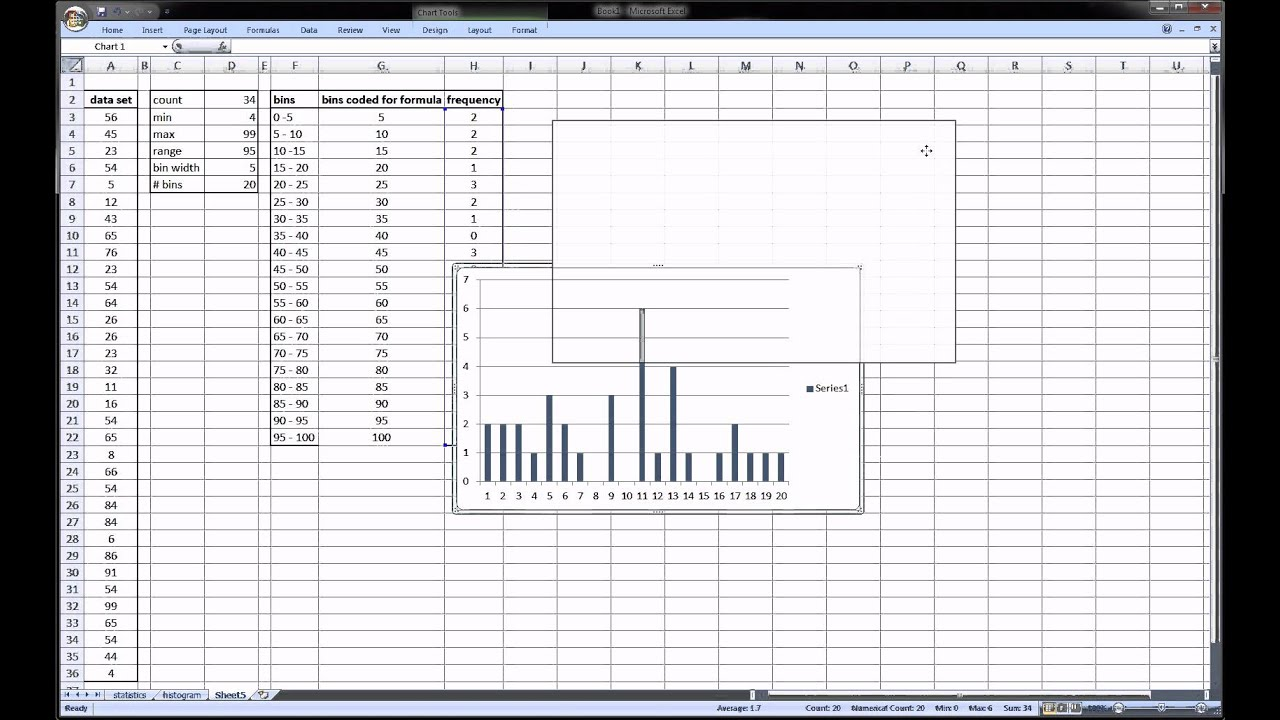 Excel Histogram - statistics - YouTube