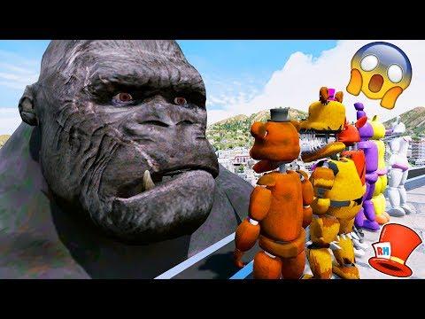 ANIMATRONICS vs GIANT KING KONG! (GTA 5 Mods For Kids FNAF RedHatter)