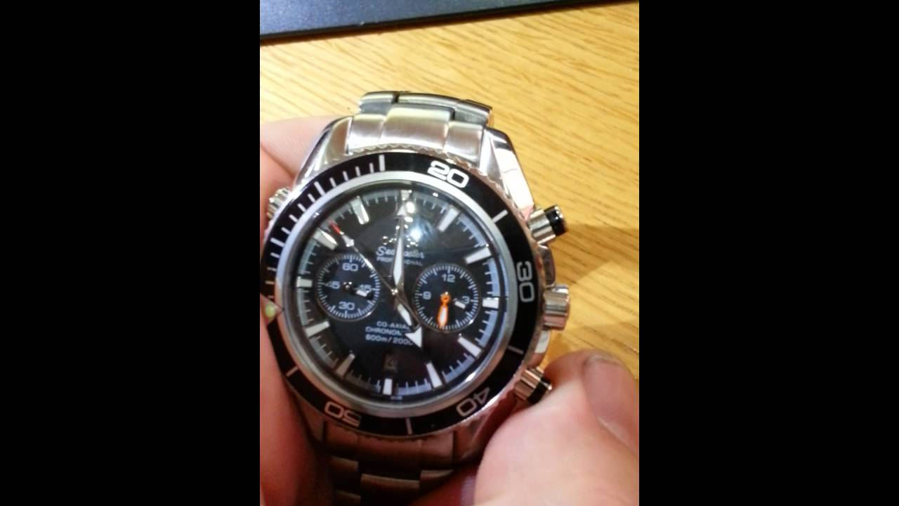 5109c90a238 How to spot a fake Omega Seamaster Planet Ocean Chronograph. - YouTube