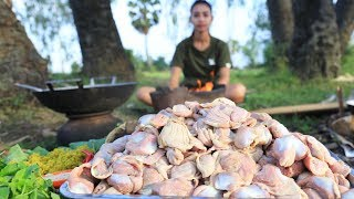 Primitive Technology: Survival skill cooking 300 CHICKEN GIZZARDS | Wilderness Technology