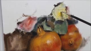 Pomegranates & Flowers. Oil Painting. Part 2