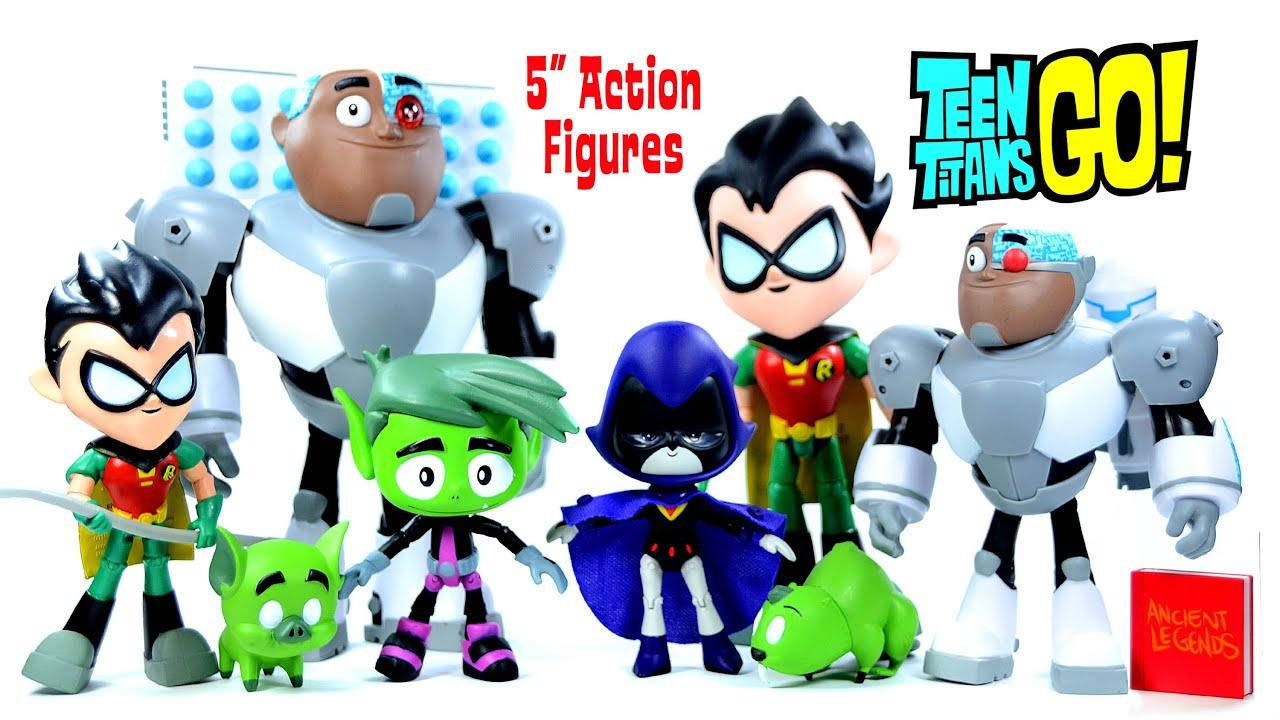 "Teen Titans Go w Robin Cyborg Beast Boy & Raven 5"" Action"
