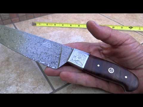 dkc 198 zen chef master dkc knives custom hand made damascus hunting pocket folding bowie knife. Black Bedroom Furniture Sets. Home Design Ideas