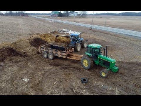Hauling Manure In Western New York With John Deere 4440, 4450 & 4755 Tractors