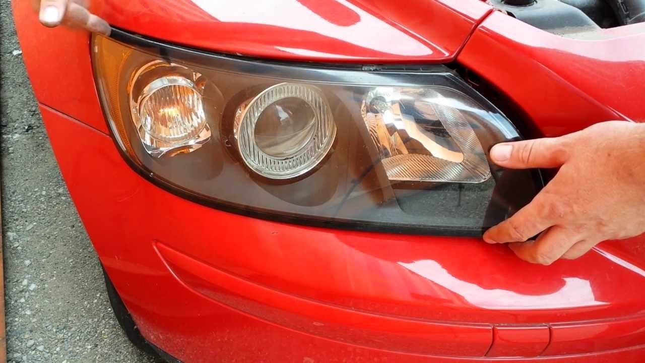 how to replace front headlight headlamp light bulbs on a 2004 2005 2006 and  up volvo s40 v50 c30 c70 - youtube