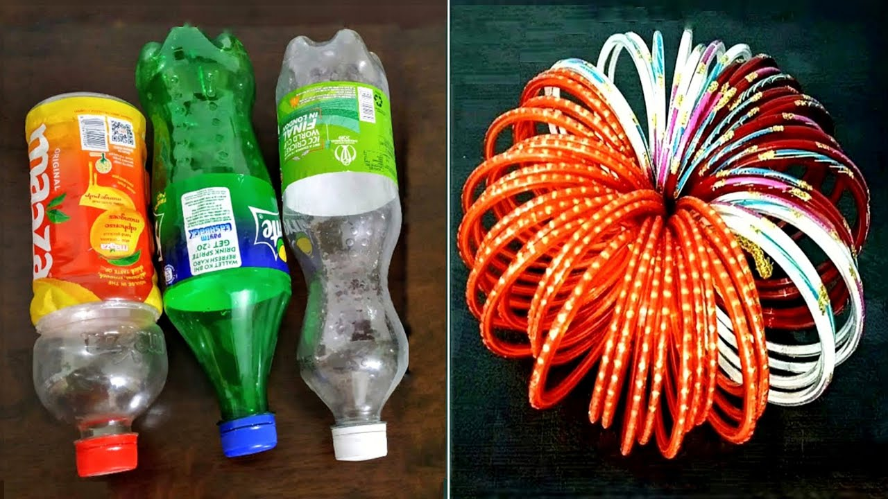 3 Superb Home Decor Ideas using waste Plastic Bottle and old Bangle - DIY crafts with waste material