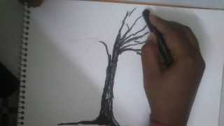 HOW TO DRAW A TREE WITH CHARCOAL PART 1