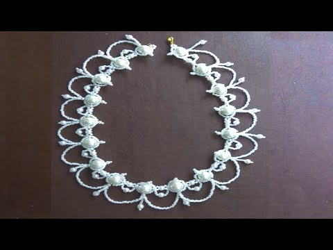 how to make white bridal necklace at home,white peal beads necklace making tutorial