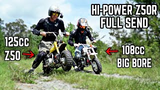 I CRASHED My BRAND NEW Restored '99 Honda Z50R (3 Times!) | 108cc Big Bore vs. Lifan 125cc