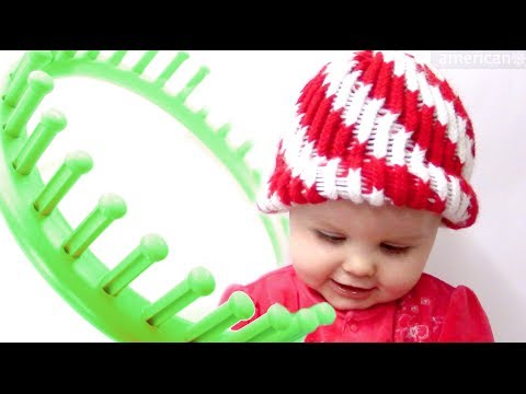 How to make a Peppermint Twist Beanie Hat on a Round Loom