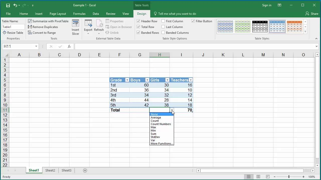 Adding total row to  table in excel also youtube rh