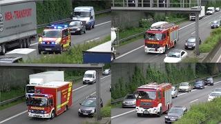 [Wohnmobil Brand auf Autobahn] Einsatzfahrten Berufsfeuerwehr Wuppertal + Autobahn Polizei
