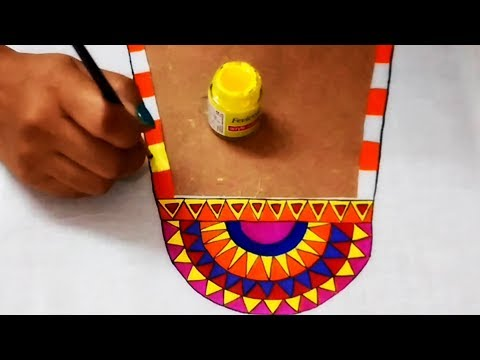 DIY : Multi Colored Designer Necklace Pattern | Fabric Painting Designs | Designer Kurti