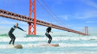 Surfing in LiSBON is Awesome (and difficult)! 🏄😅
