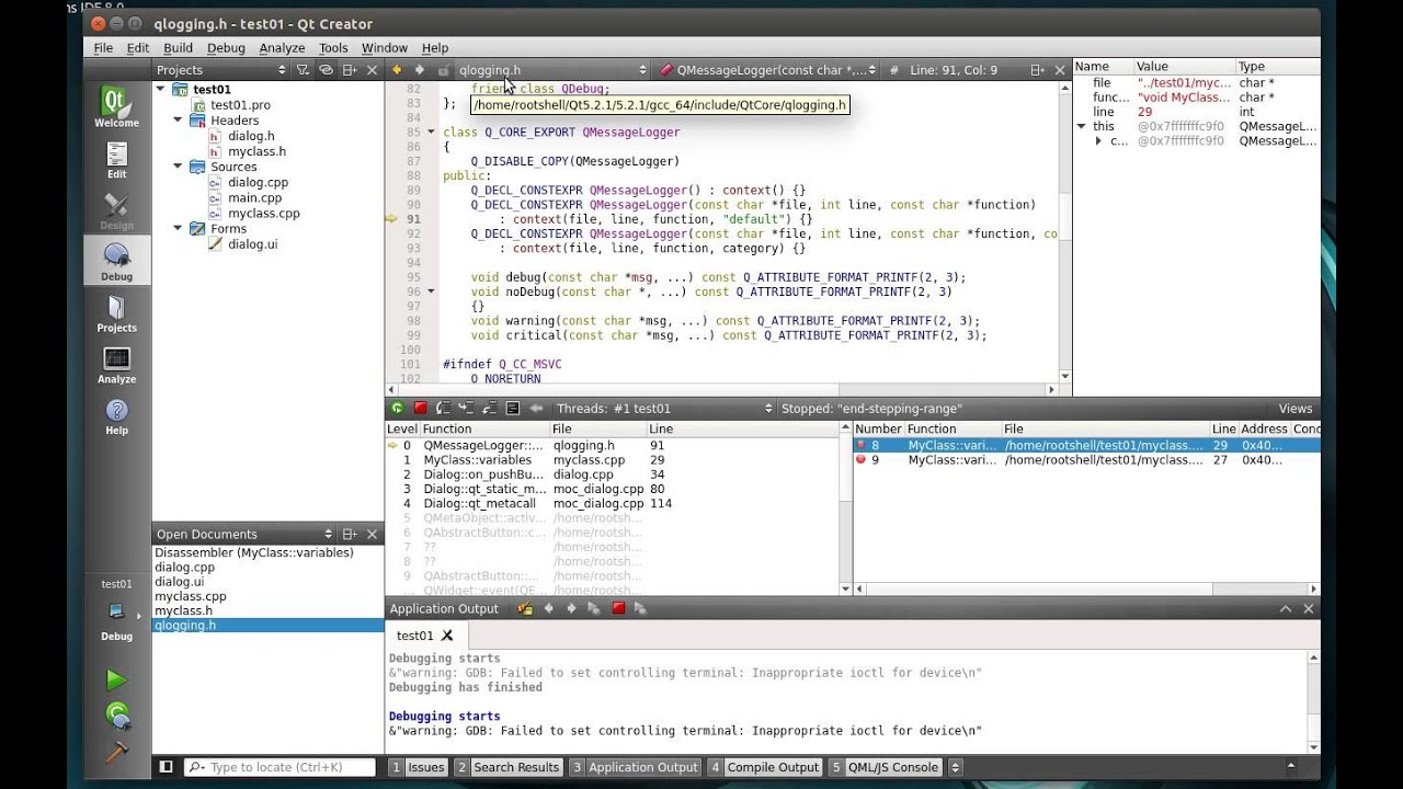 C++ Qt 118 - Debugging with Qt Creator