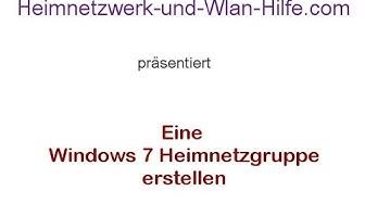 Eine Windows 7 Heimnetzgruppe erstellen