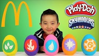 McDonalds Happy Meal Toys Skylanders Play-Doh Surprise Eggs Opening Fun With Ckn Toys