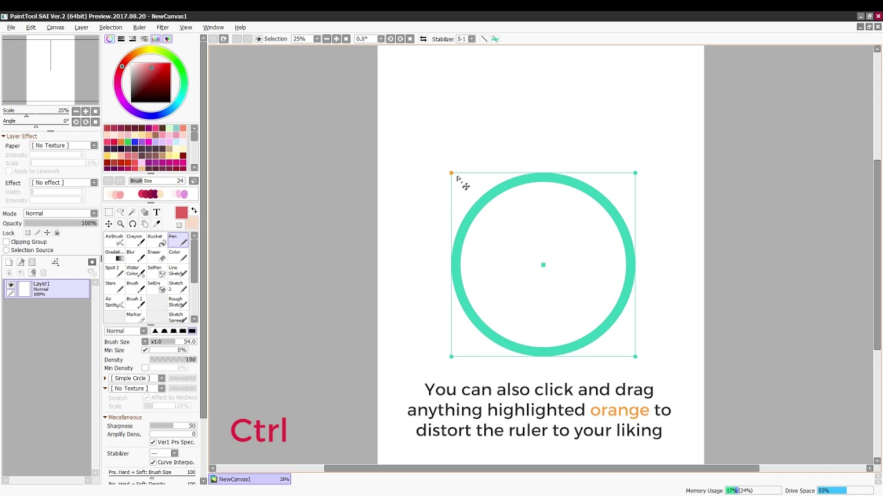 how to use the straight and circle ruler in paint tool sai 2 youtube