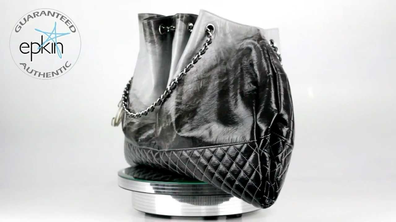 9e0051cd47fc Chanel Coco Cabas Accordion Vinyl Tote Handbag Bag Purse Silver HW Ombre  Black