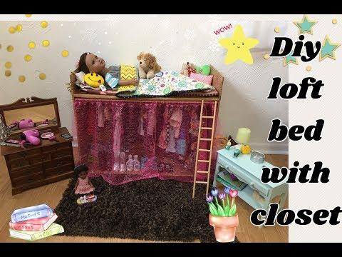 My DIY Cardboard Loft Bed with Closet 18inch Doll Furniture Journey Girl AG [No Instructions]