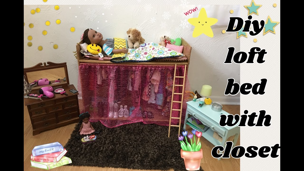 My Diy Cardboard Loft Bed With Closet 18inch Doll Furniture Journey Ag No Instructions