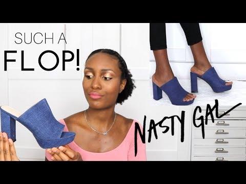 SIZE 10 SHOE STRUGGLES! | BIG Nasty Gal Shoe Haul