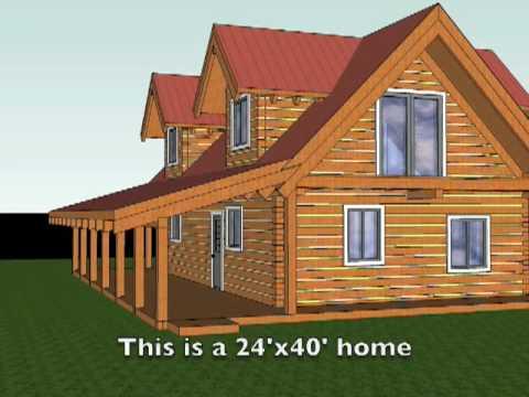Walk Through 3d Model Of Ecolog Log Home Youtube