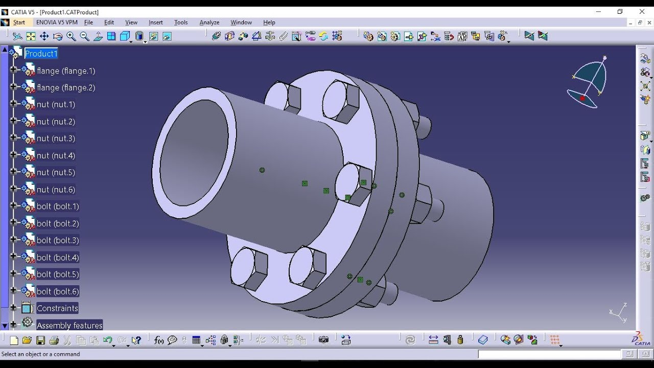 Assembly Design of Flange Coupling-Catia V5 Tutorial