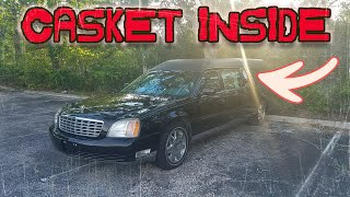 abandoned hearse with casket inside cops show up