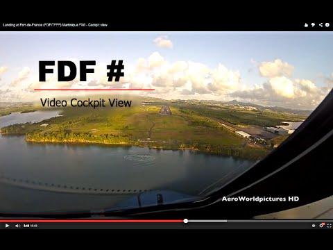 Landing at Fort-de-France, Aimé Césaire (FDF/TFFF) Martinique FWI - Cockpit view