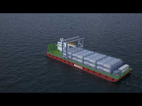 Barge design for ssLNG logistics using ISO LNG tank containers on the river