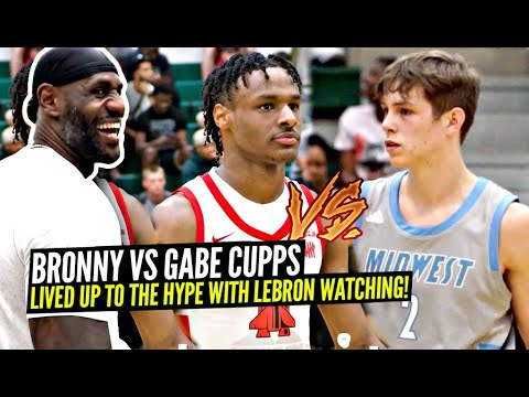 Download Bronny James vs Gabe Cupps GO AT IT w/ LeBron Watching! Former Teammates BATTLE at LeBron's Old HS!