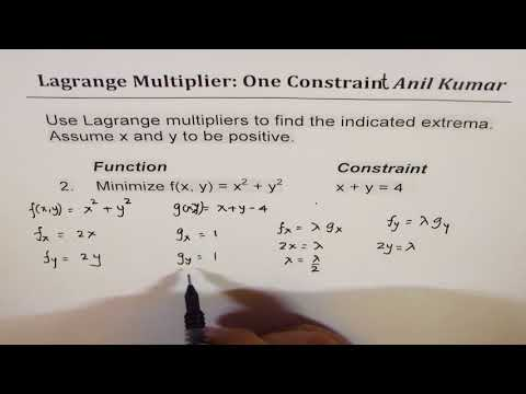 Lagrange Multipliers One Constraint Two Variable Opimization Examples