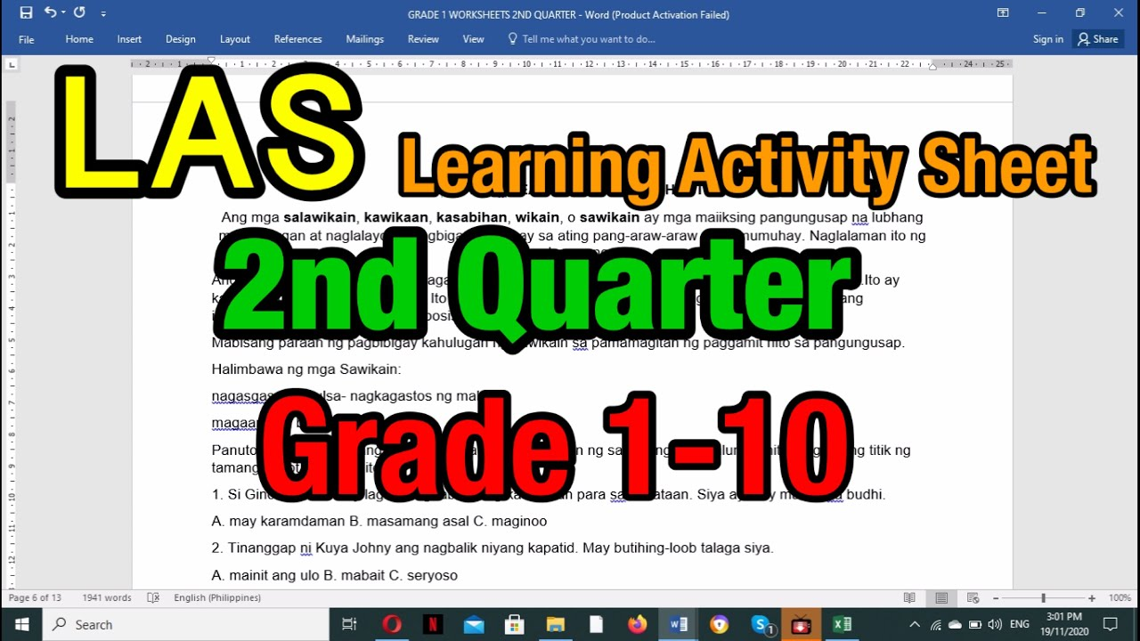 small resolution of Grade 1-10 Second Quarter -LAS ( Learning Activity Sheet) Filipino - YouTube