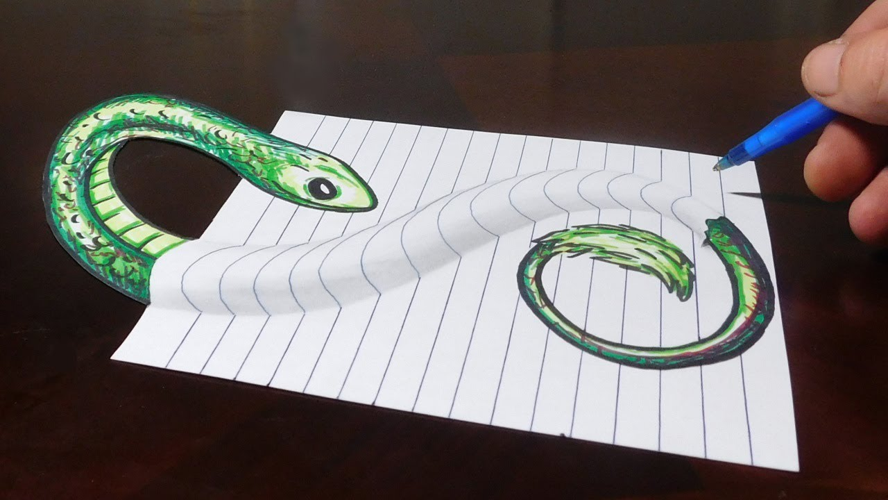 Drawing Snake Under My Paper 3d Trick Art Optical Illusion